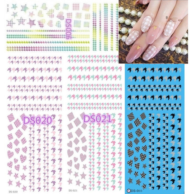 4 PCS DS SERIES Popular Water transfer printing DS6-20-21-60  nail art stamp decal