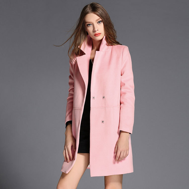 2016 autumn collects new European American style red wool suit loose long woolen trench coat women pink - UDO-IDO store