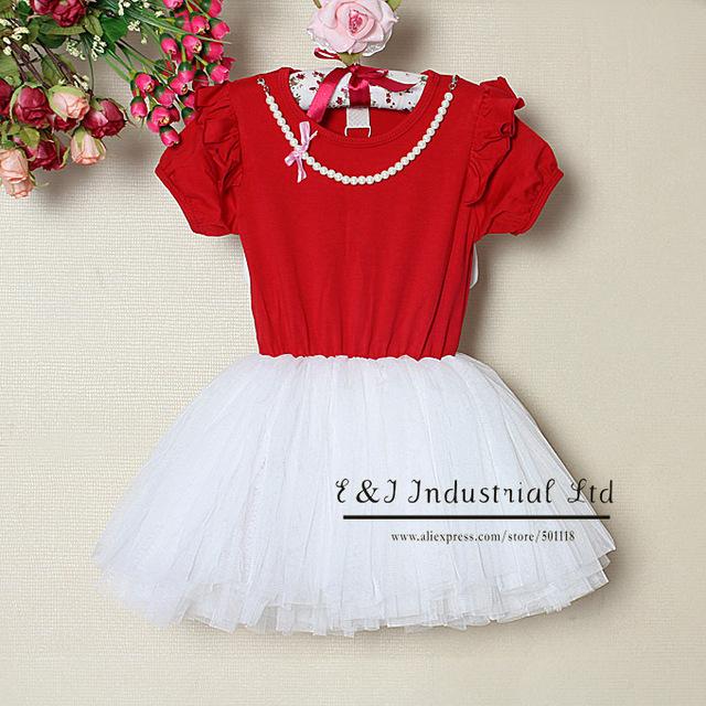 New Kids Girls Dress Angel Wings Beading Princess Dress Infant Tutu Dresses For Children Clothing 5PCS / LOT Ready Stock