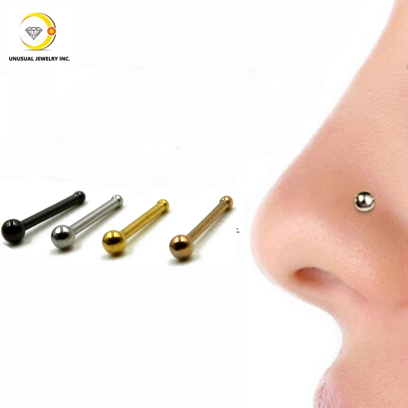 40pcs/box Stainless Steel Nose Ring Bone Silver&Gold&Black Plated Nose Studs Piercing Jewelry0.8*6*2MM(China (Mainland))