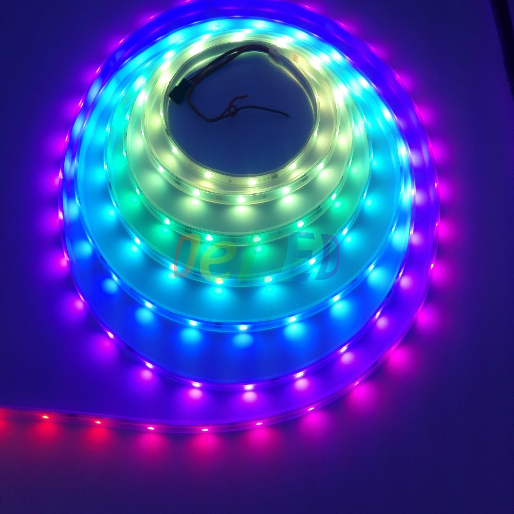 Digital LED Strip WS2811/SM16703 30pcs 5050 SMD RGB Each Meter Waterproof In Silicon Tube DC12V Input 5m Long(China (Mainland))