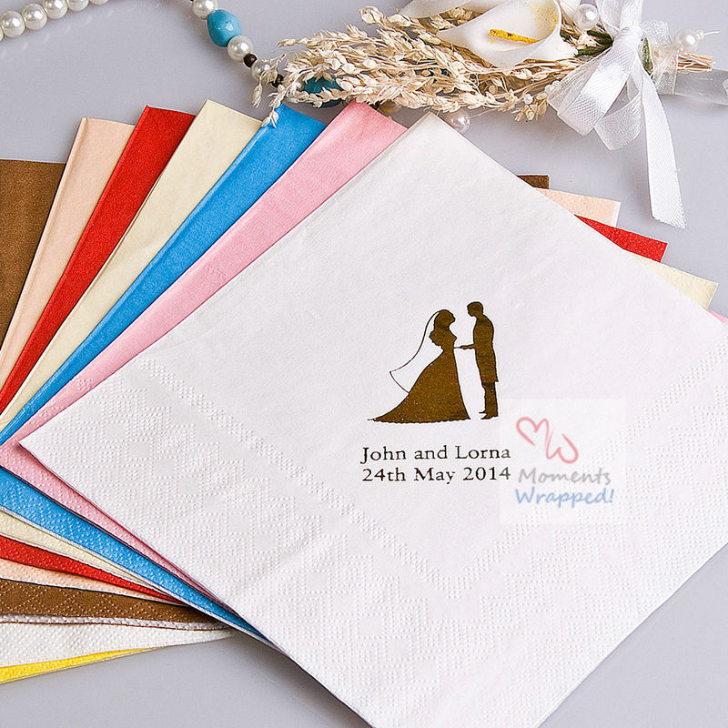 Free Shipping! Bride and Groom Printed Napkins - Personalized Wedding Napkins - Set of 100 (More Colors)(China (Mainland))