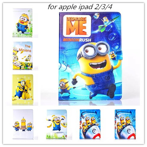 freeshipping 2015 New hot Minion Despicable Me flip case for apple ipad 2 3 pu leather case holder smart cover skin for ipad 4(China (Mainland))