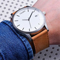 2016 New Products Men business watches quartz brown leather strap male atmos clock CAGARNY reloj gift