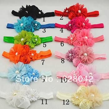 Trail order chiffon flower with pearl headband satin ribbon flower double rose flower baby headbands hair accessories 30pcs/lot