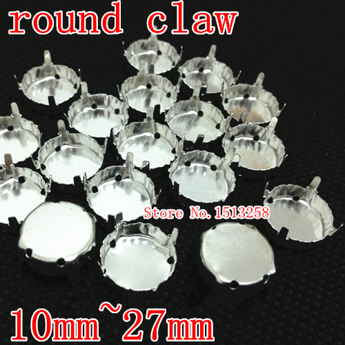 Round Metal Claw Setting Silver Closed Back For Sewing On 1216,1122 Rivoli Fancy Stone 8mm,10mm,12mm,14mm,16mm,18mm,27mm(China (Mainland))