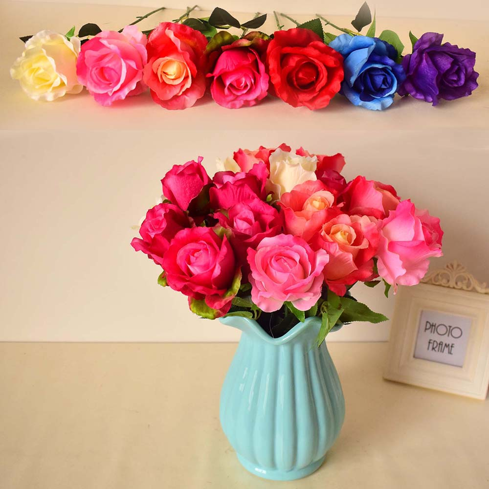 Silk rose artificial flower home garden tabletop party wedding decorations red blue pink white purple color diy gift fake flower(China (Mainland))