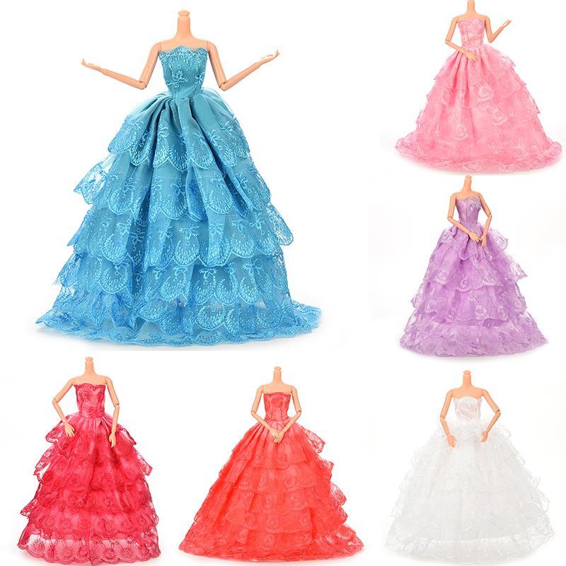 HOT 6 Color New Handmade Doll Wedding Dress Lace Long Dress For Barbie Doll Fashion Dolls