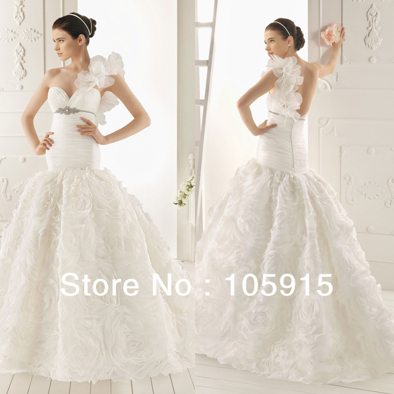 Buy prefect design white one shoulder for International wedding dress designers