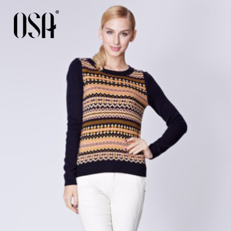 OSA 2015 Winter Brief slim Striped pullover Autumn women damen sweaters Vintage Full Sleeve Color Black O-neck knitwear SE429026 - Overseas Store store