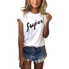 Buy Summer Loose Female Super Letter Printed Women T shirt Tee Tops Short Sleeve White Women Shirts Big Size Women Clothes 2017 for $7.67 in AliExpress store