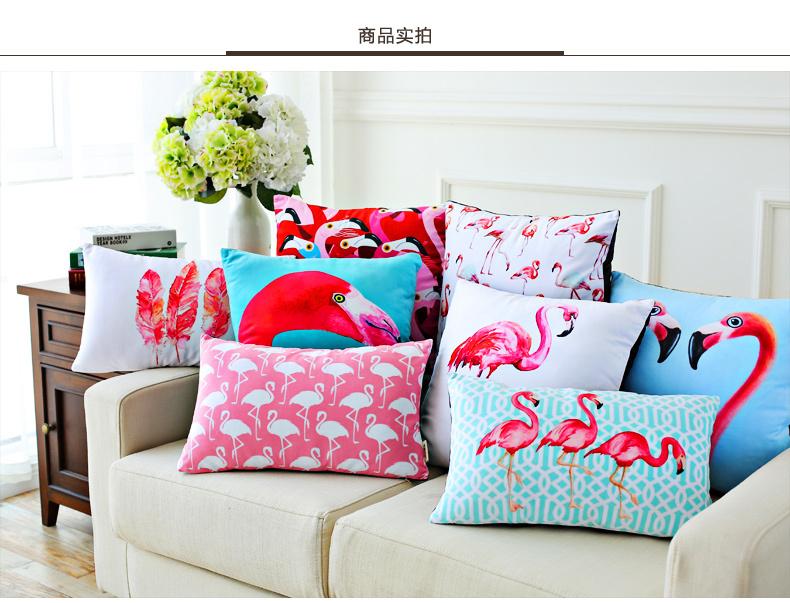 Free shipping/fashion color pastoral flamingo feather super soft short plush pillowcase car cushion 30 * 50(China (Mainland))