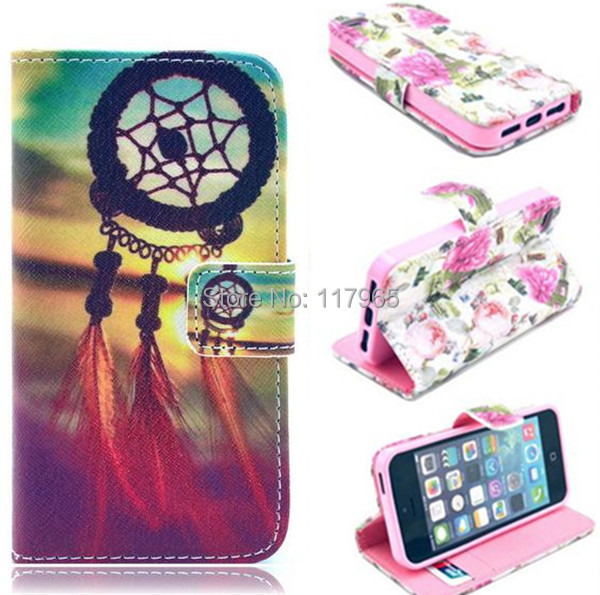 Wallet Style Stripe Cartoon Print Flip Case iphone 5 5S 5G Stand PU Leather Cell Phone Cover EC149 - xycharm store