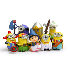 8pcs/lot Mini Cartoon Action Figures Small Yellow People Garden Decoration Anime Figurine Mixed Resin Micro Landscape Decor Toys