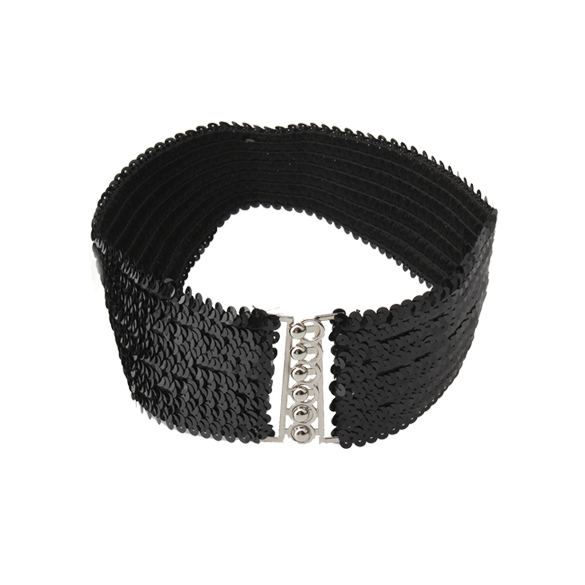 Women Fashion Paillette Buckle Wide Elastic Belt Waistband Girdle Buckle Decoration Black(China (Mainland))