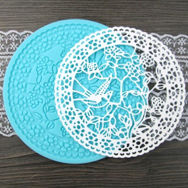 DIY Bird Flower Pattern Silicone Lace Molds Gumpaste ...
