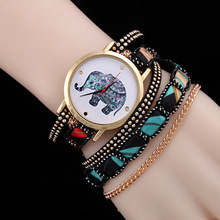 6Colors 2016 New Fashion National Elephants Charm Women Wrap Bracelets Watch Unique Gift For Wife Girl Weaving Pulseras SaatZB40(China (Mainland))
