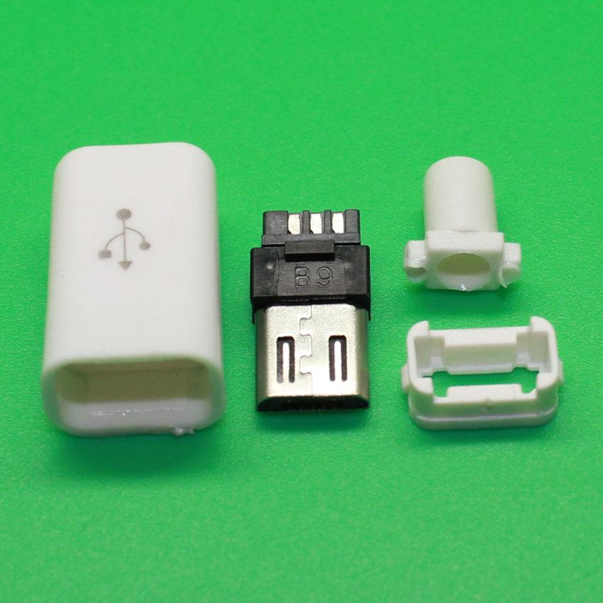 10pcs DIY Micro USB Type B Male 5pin Four Piece Assembly Connector Plug Socket(China (Mainland))