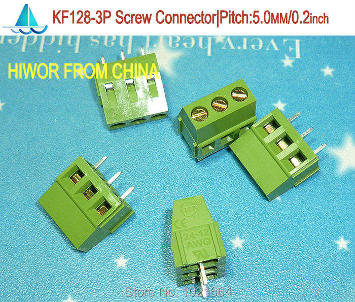 (100pcs/lot) (connector screw)PCB Screw Terminal Block Connector, KF128-3P pitch:5.08MM/0.2inch, Green, 5mm, KF128 3Pins<br><br>Aliexpress