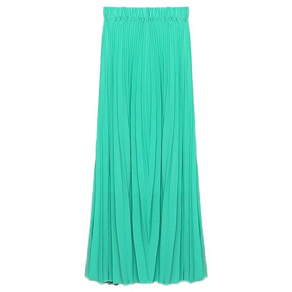 Fashion Bohemian Chiffon Green Long Skirt 2015 Summer Spring High Waist Yellow Tutu Pleated Skirts Womens Plus Size Saia WK34 - N-DEER-N store