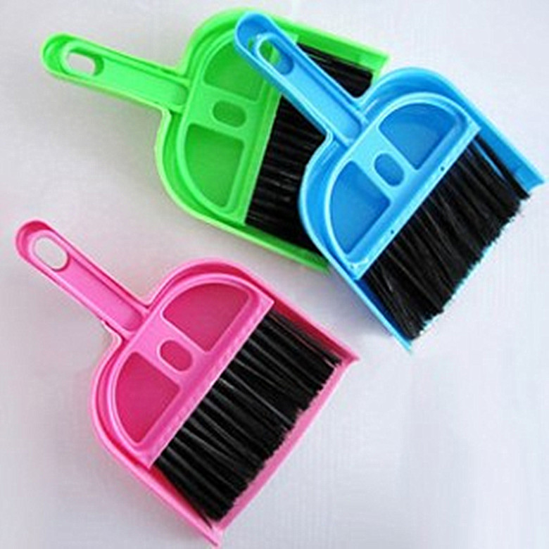 Lovely mini desktop computer keyboard clean sweep dust to dust Small broom brush set with dustpan shovel free shipping(China (Mainland))