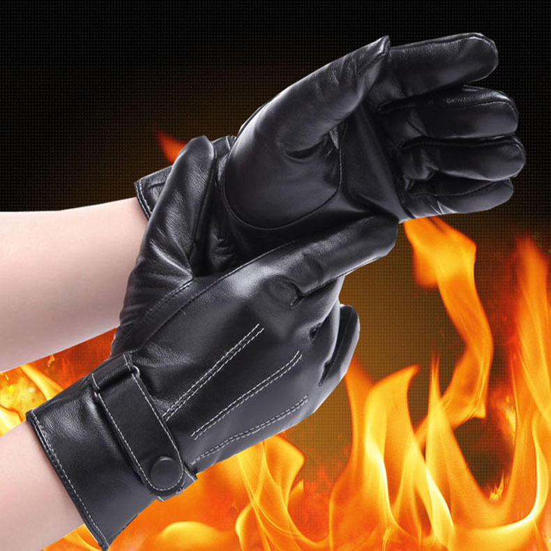 Autumn Winter Hot Style Keep Warm Men Leather Gloves Anti-Cold Outdoor Work Guantes Top Men's Business - iFashion Forward store