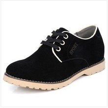 SG891 - Black Suede Leather Casual Lace-up Height Increasing Elevator Shoes gain Man taller 6CM, SZ37-43(China (Mainland))