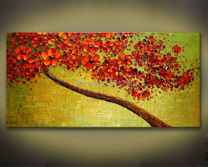 Hand-painted modern home decor wall art picture green red cherry blossom trees thick paint palette knife oil painting canvas - Modern Home Decorative Oil Painting store