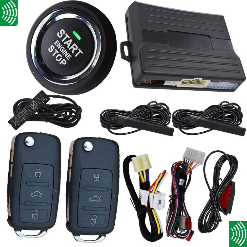 passive keyless entry start car alarm system 3pcs auto induction pke antennas,slim push stop button(China (Mainland))