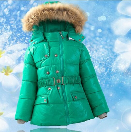 Child Down Coat Baby Girl Winter Jacket Medium-long Duck Down Kids Down Outerwear Fur Hooded Children's Clothing Free Shipping(China (Mainland))