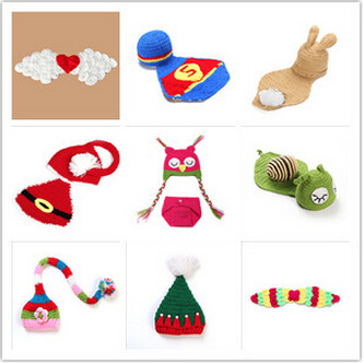 Retail Baby Newborn Photography Props Costume Hand Crochet Knit Infant Beanie Hat with Cape Animal Design,christmas baby hat(China (Mainland))
