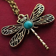 x5 2015 New Vintage Jewelry Retro Hollow Dragonfly Korean Long Paragraph Sweater Chain Pendant Necklace For Women(China (Mainland))