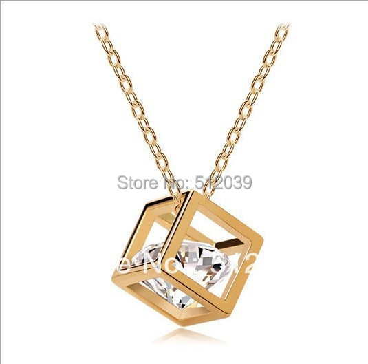 Crystal accessories cube hearts and arrows zircon necklace  super flash small square collar bone CLOVER1341K/317