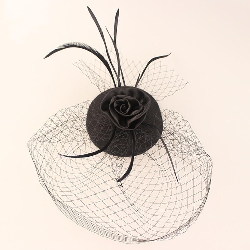 Мини-шляпа свадебные клетка вуаль с черным пером румяна чародей черный тюль волос цветок шляпу в наличии 18057