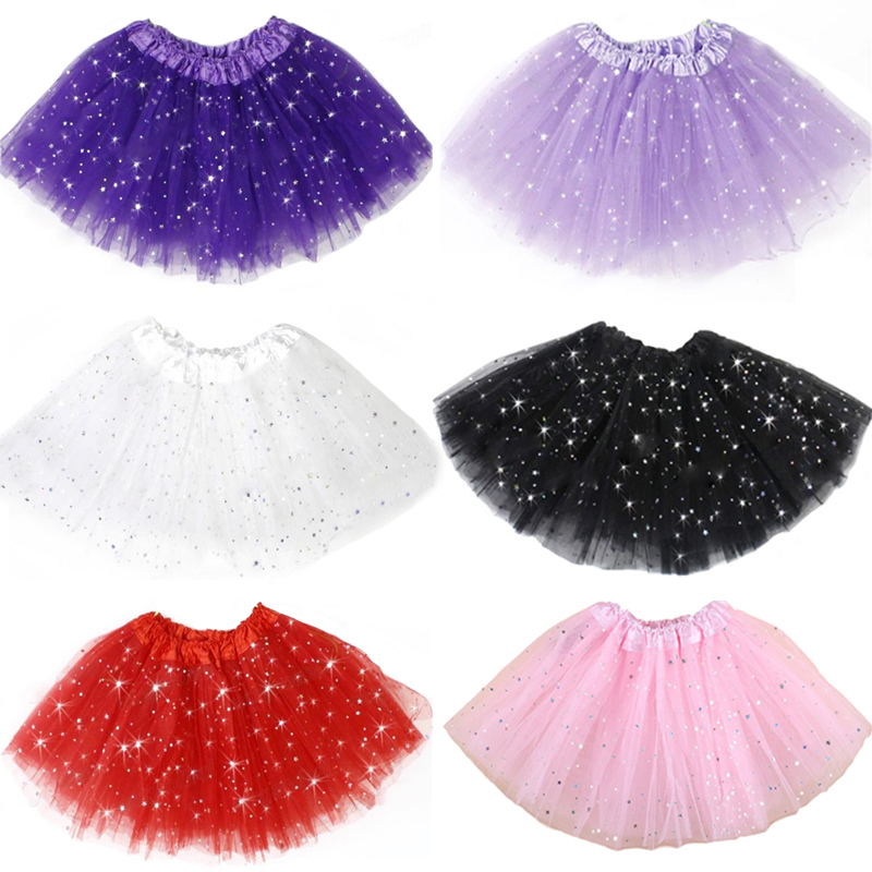 Girls Kids Tutu Skirts Princess Party Ballet Dance Wear Translucent 3 Layers Tulle Star Glitter Girl Skirt Children Clothing(China (Mainland))