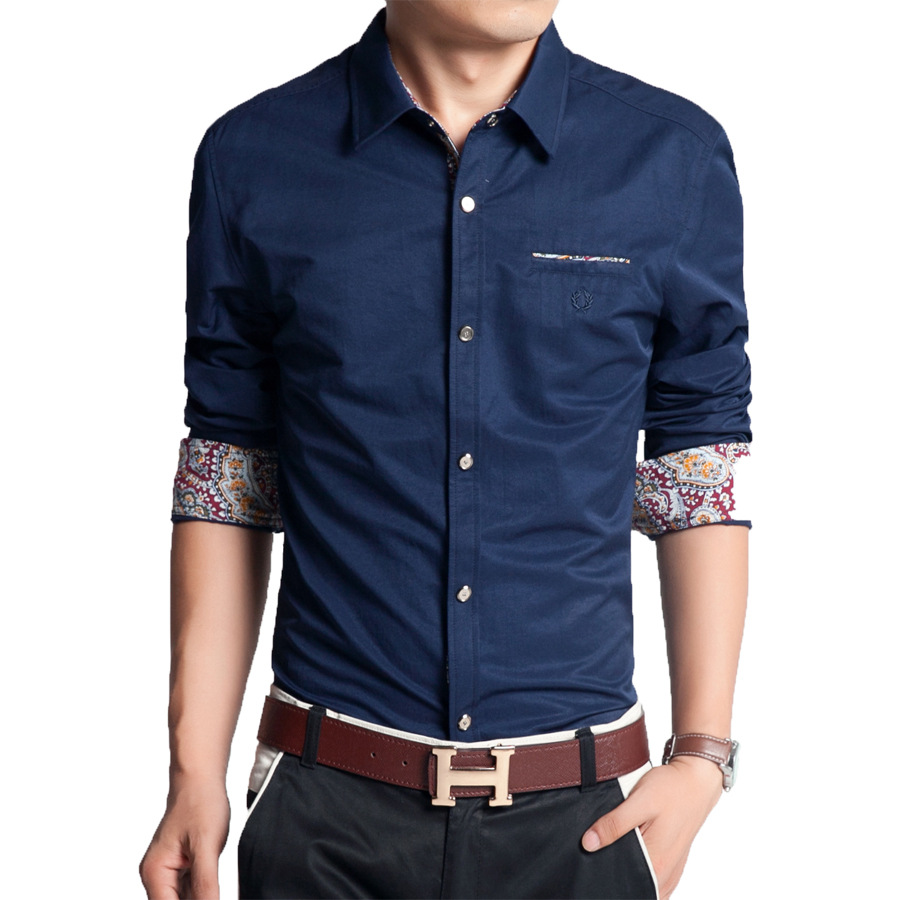 New fashion solid plus size slim men shirt print long for Mens dress shirt sleeve length