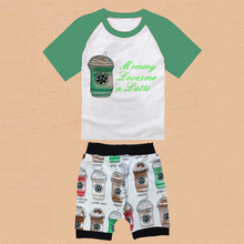 2016 New Baby Boys Summer Clothing Set Kids Cotton Cute Coffee Cups Suits Boy Tshirt+Shorts 18E(China (Mainland))