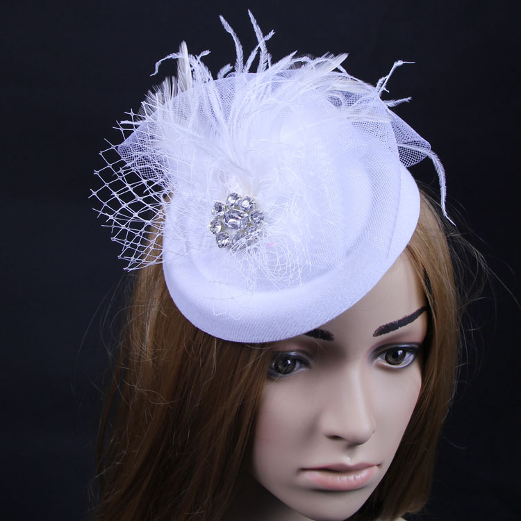 Lady bridal bride white color mini top hat handmade fascinator barrettes hair clips pillbox hat for wedding(China (Mainland))