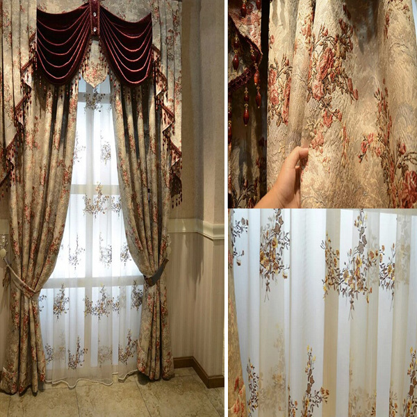 China Manufactured Fancy Wholesale Polyester Curtain Ready Made(China (Mainland))