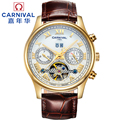 2016 New Carnival tourbillon automatic mechanical full steel militery watch mens genuine leather waterproof male luxury