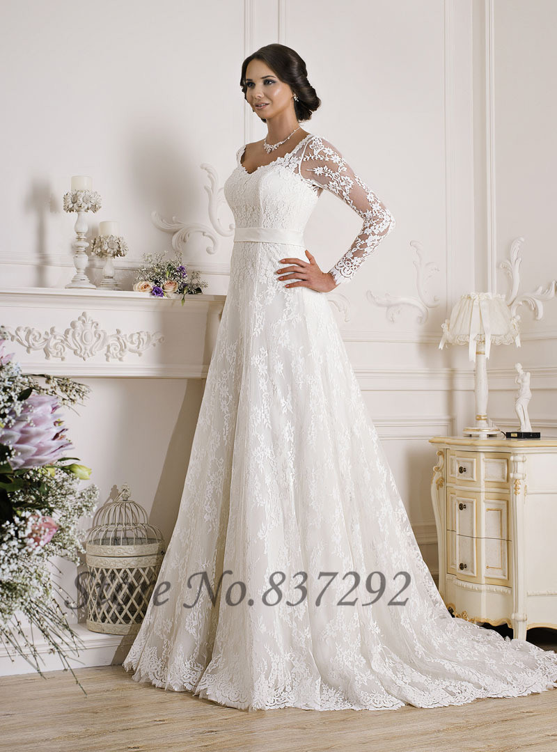 Gorgeous white lace long sleeve wedding dresses a line for Long sleeve white lace wedding dress