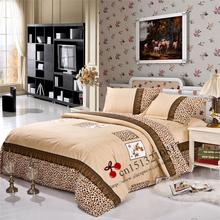 New queen size  bedding set  king size duvet cover set 4 pcs Bedclothes Royal Leopard print 3 pcs bed sheets Home textile(China (Mainland))