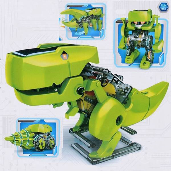 Freeshipping 4 In 1 Solar Robot Educational Model Building Kits T-Rex Robot Drill Vechicle Insecta DIY Toys For Kids(China (Mainland))
