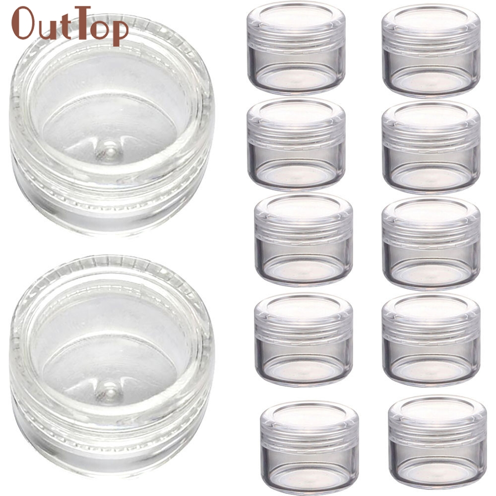 2017 Hot 50Pcs Clear Plastic Empty Cosmetic Sample Containers Jars Pots Small 3g contenedores Refillable Bottles Mar18(China (Mainland))