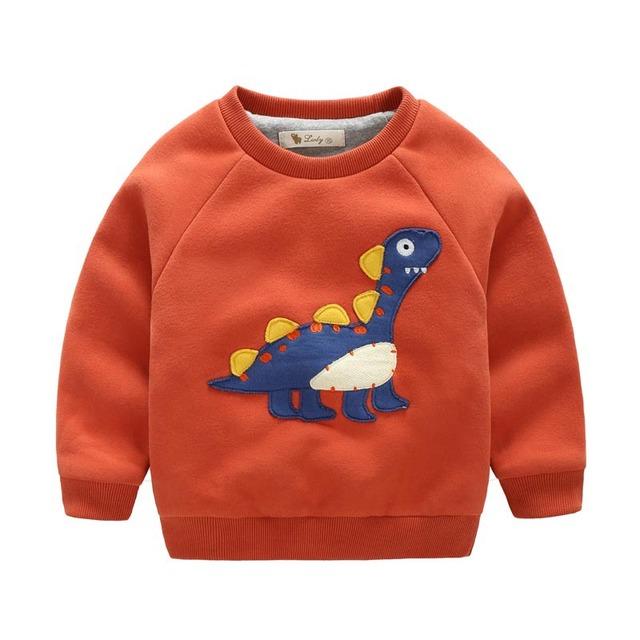 LWLY Бренд Осень Зима Мальчиков Толщиной Sweatershirts О-Образным Вырезом с длинными рукавами Мультфильм Динозавра Теплые Детская Одежда