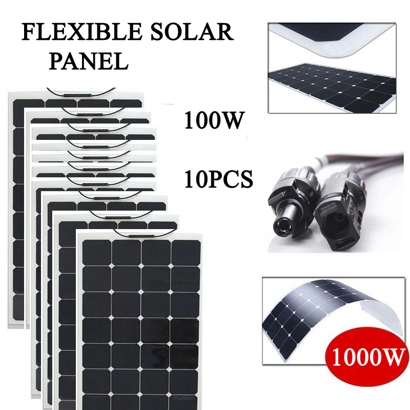 free shipping flexible solar panel 1000w sunpower solar cell 100w 10pcs 18vdc output 23% charging efficiency<br><br>Aliexpress
