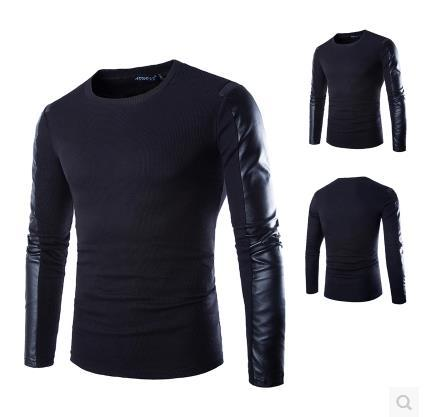 Fashion Casual Men 2015 black PU Leather Spliced O-neck sweater t shirt men PU Leather Long sleeve men's pullovers sweater M-2XL(China (Mainland))
