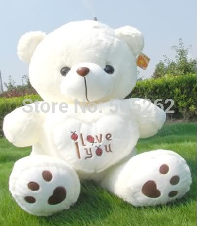 lovely PLUSH BEETLE LOVE HEART white TEDDY BEAR 70cm free shipping(China (Mainland))