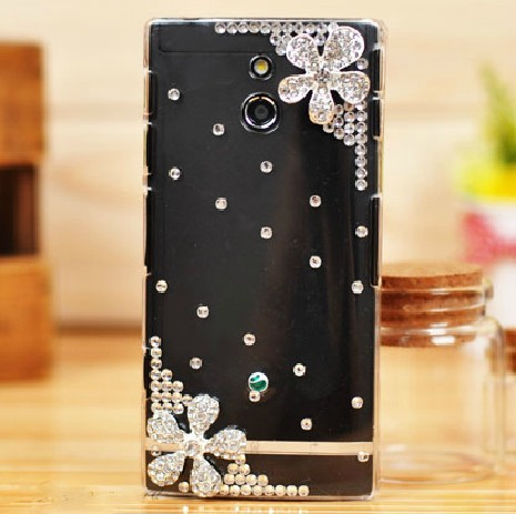 Woman Gift 3D Crystal Diamond Silver Flower Hard Back Cover Sony Xperia P LT22i Bling Case - ZhaoChen Technology store