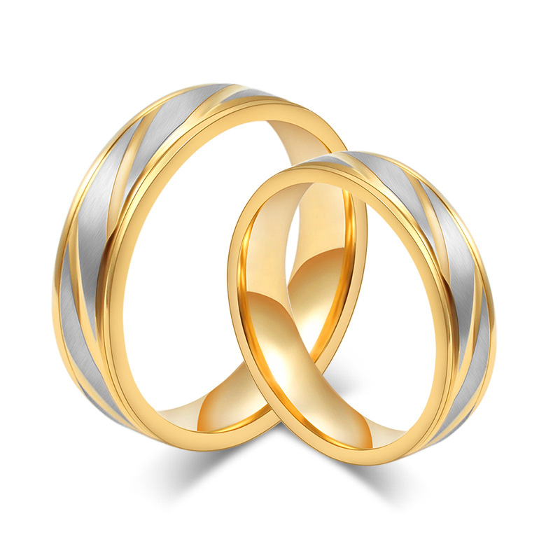 18K Gold Plated Wedding Band Ring for Women and Men Quality 316L Stainless Steel Couple Ring Gift for Lover free shipping(China (Mainland))